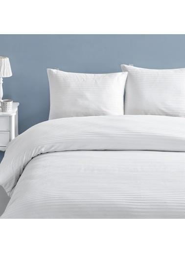 Marie Claire Otel Serisi-Çift Kişilik Nevresım Oslo 100% Pamuk 200X220 Cm Beyaz Beyaz
